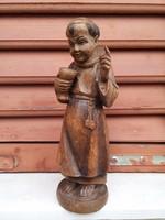 Fa szobor Ferences szerzetes barát,jelzett!! egyházi szobor !Szent ember.