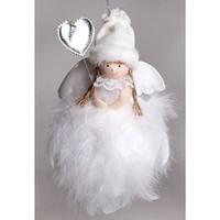 Aranyos tollas angyalka kislány,szívecskét tartva mérete 19 cm