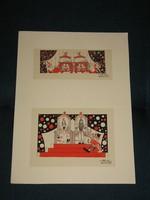 Róna Emy 2 db eredeti színes grafikája a Hófehérke mama lett című könyvhöz