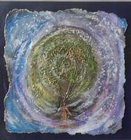 Éva teremtése. 30x30 cm-es parafára domborított kép. Károlyfi Zsófia Prima díjas alkotó műve.