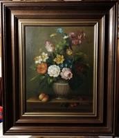 Nagyméretű,jelzett, csodálatos,  csendélet ( ( olaj, keretezett méret 61 x 71 cm )
