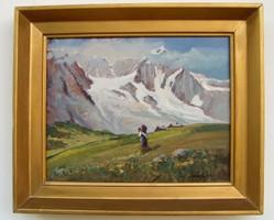 MÉLYEN ÁR ALATT Carlo Ricci jegyzett Olasz olaj-vászon festmény
