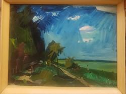 Id.Benedek Jenő (1906-1987) : Vihar c.Képcsarnokos olajfestménye Eredeti Garanciával