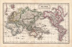 Világtérkép 1854, német, eredeti, atlasz, térkép, világ, Föld, Mercator, projekció, osztrák
