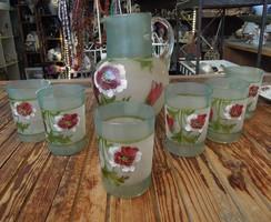 Antik festett üveg vizespohár készlet