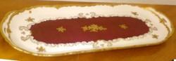 Aranyozott bordó barokk stílusú Reichenbach porcelán kínálótál hosszúkás