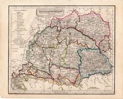 Magyarország térkép 1854, német nyelvű, eredeti, atlasz, osztrák, Erdély, Galícia, Bukovina, XIX. sz