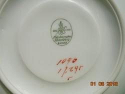 1914-ből HUTSCHENREUTER évfordulós kézzel festett kézzel számozott hatszögletes talpas csésze+alja