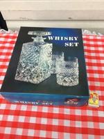 Antik Csehszlovák Kristály Bohemia whiskey -s készlet - wisky üveg dobozában