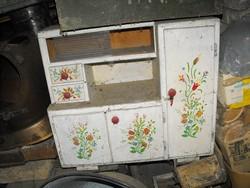 Antik Ritka Nagy 72cm baba konyha tálaló bútor konyhabútor + kis kovácsolt vas ágy