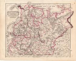 Oroszország térkép 1854, német nyelvű, eredeti, atlasz, osztrák, Európa, északi része, Szentpétervár