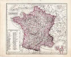 Franciaország térkép 1854, német nyelvű, eredeti, atlasz, osztrák, Gallia, Európa, megye, felosztás