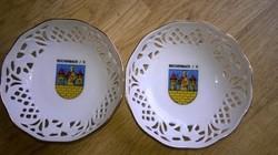 2 darab , áttört szélű porcelán tálka - mogyoró kínáló