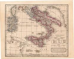 Dél - Olaszország térkép 1854, német nyelvű, eredeti, atlasz, osztrák, Európa, Itália, Szicília