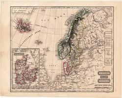 Svédország és Norvégia térkép 1854, német nyelvű, eredeti, atlasz, Dánia, Izland, Skandinávia, észak