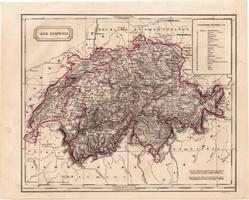 Svájc térkép 1854, német nyelvű, eredeti, atlasz, osztrák, Európa, kanton, megye, Zürich, Bázel