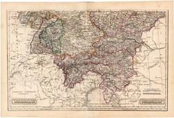 Dél - német államok térkép 1854, német nyelvű, eredeti, osztrák, atlasz, Európa, kelet, nyugat