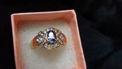Tanzanit és gyémántok 14kr.arany gyűrű ÚJ!