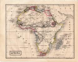 Afrika térkép 1854, német nyelvű, eredeti, atlasz, osztrák, Szahara, Egyiptom, Nílus, hottentotta
