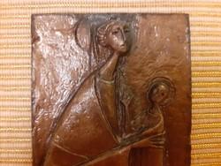 Régi vallási kegytárgy 1988 fém plakett Mária Jézus