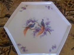 Hatszög alakú porcelán talca 24 cm átm