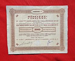 1924 5000 Korona részvény Dr. Just féle izzólámpa és villamossági gyár
