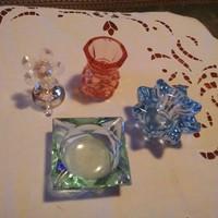 Régi 4 db színes tömör üveg, kristály egyben