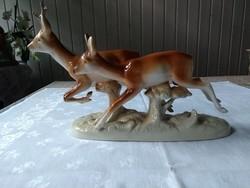 Futó szarvas a párjával   Royal Dux figura, elég nagy, elég ritka