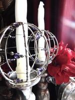 Gyertyatartó dísz - gömb forma fém gyöngyökkel díszítve