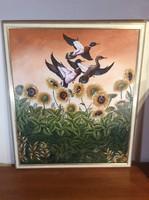 """98x84 cm-es Pierre Richard """"Zomo"""" karibi hangulatú festménye Franciaországból, lakberendezőknek"""
