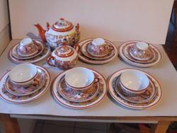 Porcelán teáskészlet gésával