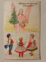 Régi képeslap 1939 karácsonyi angyalos magyaros népviseletes