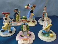 6 db világhírű bohócról  készült porcelán figura gyűjtemény híres olasz művésztől
