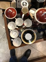 Hollóházi szines hatszemélyes kávéskészlet, kiváló állapotban.