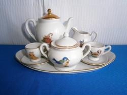 Nagyon szép baba házba való porcelán kicsi kávés teás készlet vegyes gyermek mintával