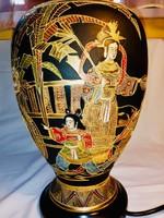 Eredeti hatalmas Satsuma váza lámpa, kuriózum, vastagon aranyozott, kézzel festett, mesteri munka!!!