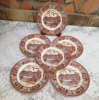 6 db barna Angol süteményes tányér, tányérok, sütis tányér, porcelán