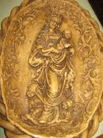 Régi viasz kép Mária  a kisdeddel