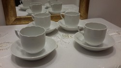 Fehér herendi kávés csésze+alátét