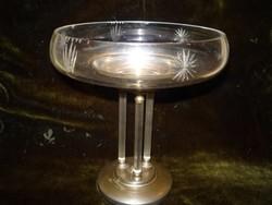 Antik art-deco oszlopos patinás ezüstözött kínáló-22 cm