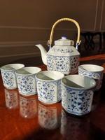 Kék-fehér teás porcelán szett