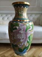 Keleti rekeszzománc, émail cloisonné dísz váza