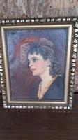 Festmény  Feszty Masa,kalapos nő