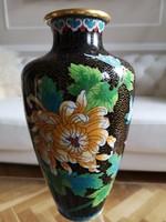 Különleges, keleti émail cloisonné, rekeszzomanc váza