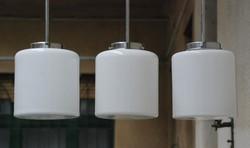 Bauhaus - Art deco menyezeti lámpa trió felújítva - tejüveg henger búra