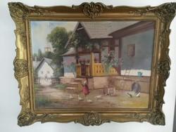 """""""Fényes A."""" szignóval falusi életkép festmény"""