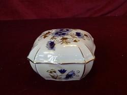 Zsolnay porcelán bonbonier, búzavirág mintás, gyönyörű, vitrin minőség.