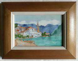 """Kovács Sándor """"Montenegrói tengerpart"""" c. keretezett tűzzománc ingyenes házhoz szállítással"""
