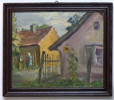 Festmény Falusi utca két alakkal