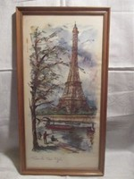 Eiffel-torony Párizsi utcakép akvarell festmény 39 x 21 cm.